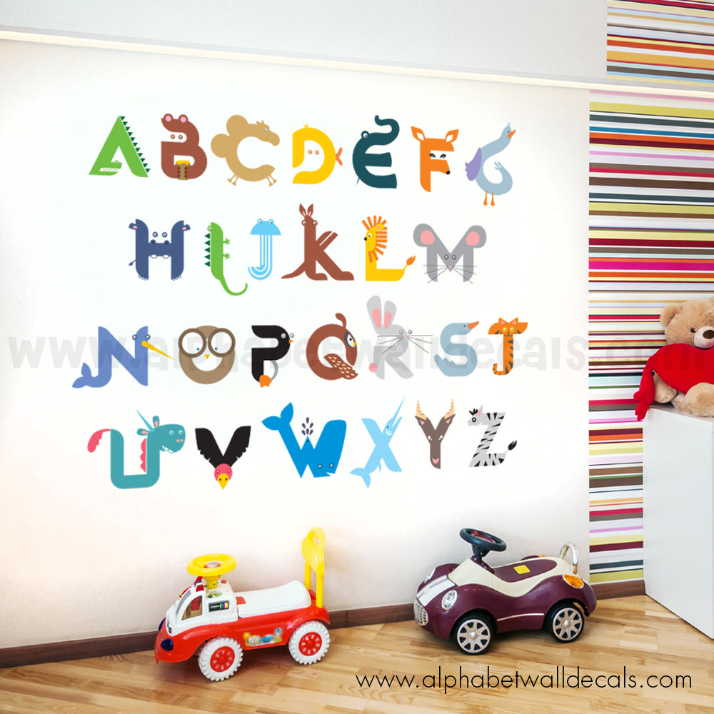 Alphabet Wall Decal - Animal Alphabet Decal  sc 1 st  Just For You Decals & Alphabet Wall Decal - Animal Alphabet Decal u2013 Just For You Decals ...