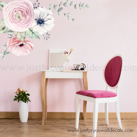 Watercolour Spring Flower Wall Decal, Corner