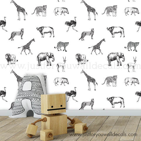 Animal Removable Wallpaper - Nursery Removable Wallpaper
