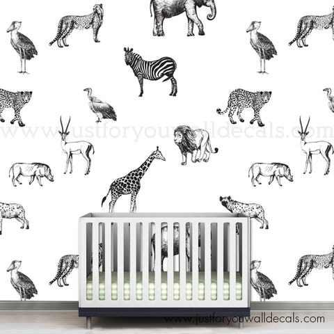 Animal Removable Wallpaper, Nursery Removable Wallpaper