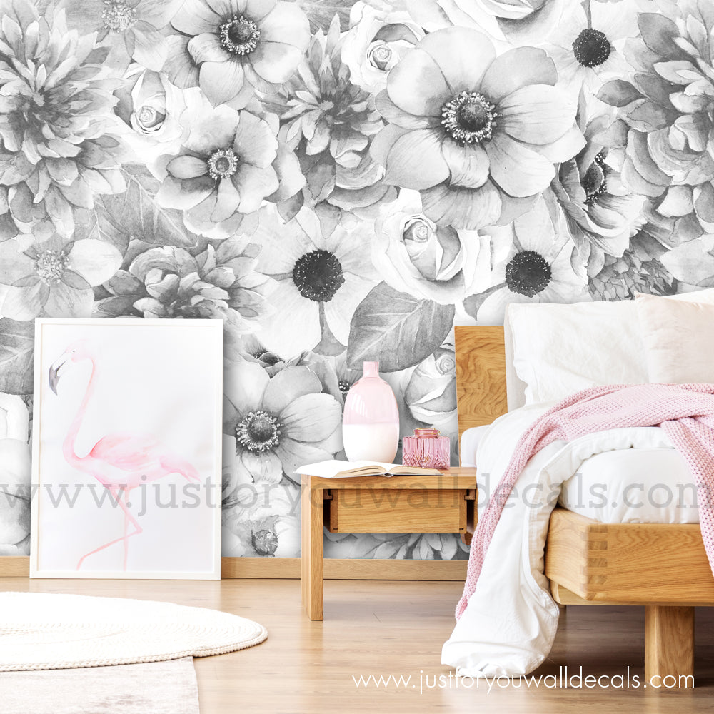 Spring Floral Wallpaper Black And White Wall Decals Removable