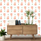 Orange-Red Palm Leaf Wallpaper - Removable Wallpaper