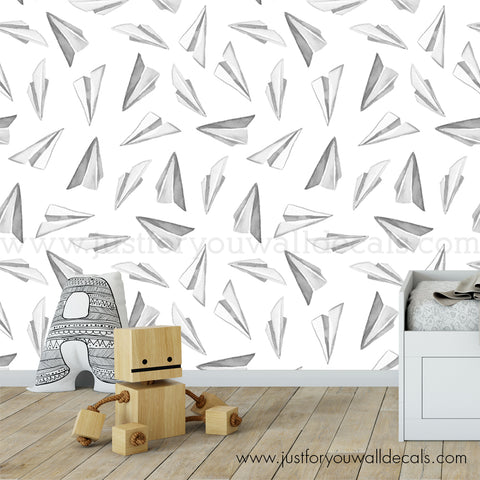 Paper Airplane Peel and Stick Removable Wallpaper - BW