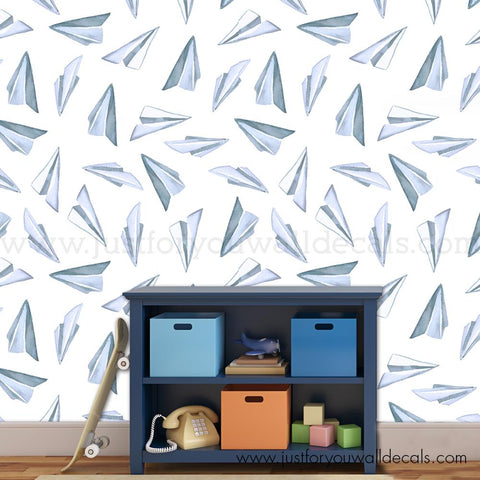 Paper Airplane Peel and Stick Removable Wallpaper - BU