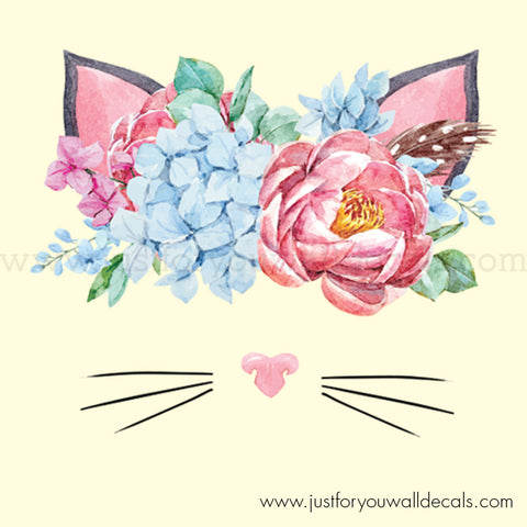Floral Cat Wall Decal