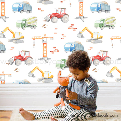 Construction Nursery Wallpaper, Boys Wallpaper