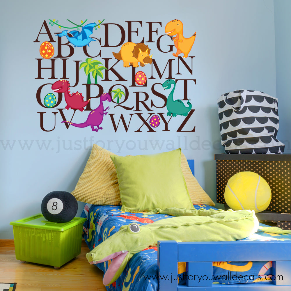 Dinosaur Alphabet Wall Decal – Just For You Decals - Wall Decals ...