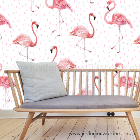 Cheeky Flamingo Removable Wallpaper - Large