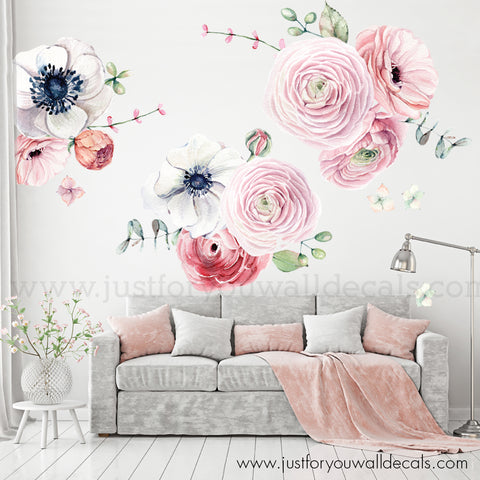 Watercolour Spring Flowers - Individual Flowers, Pink Branches