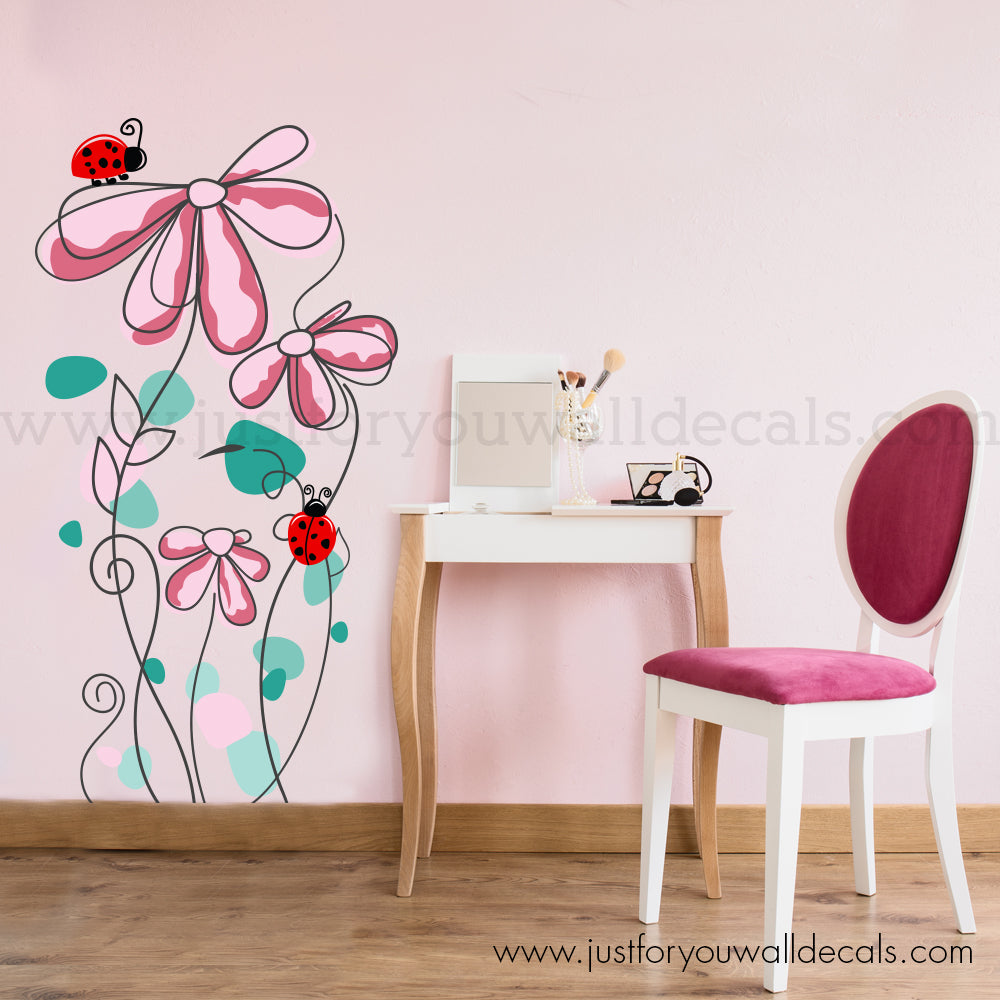 Whimsical Flowers Wall Decal & Whimsical Flowers Wall Decal u2013 Just For You Decals - Wall Decals ...