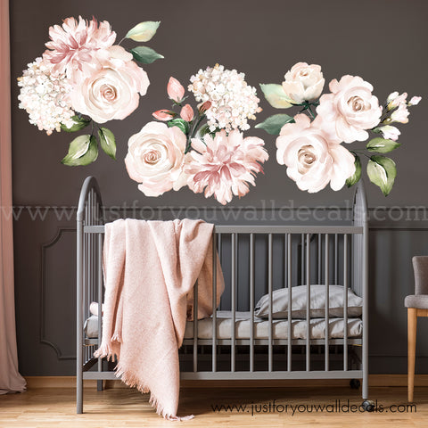 Watercolour Floral Wall Decals - Individual Flowers, Soft Pink and Blush
