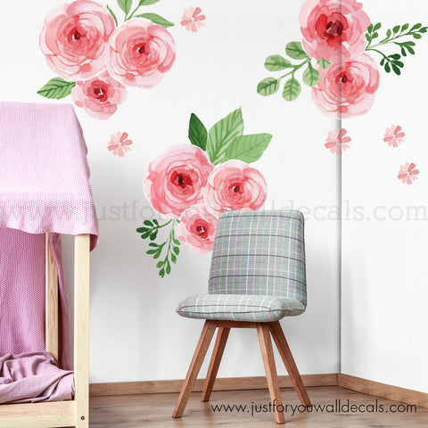 Mini Floral Wall Decals - Pink Watercolor Garden Roses
