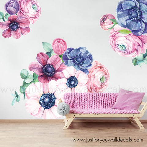 Flower Wall Decal - Spring Garden Roses Floral Wall Decal