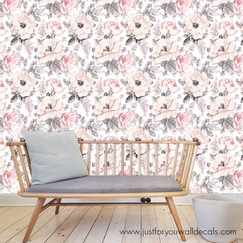 Vintage Rose Floral Removable Wallpaper - Nostalgia Blooms