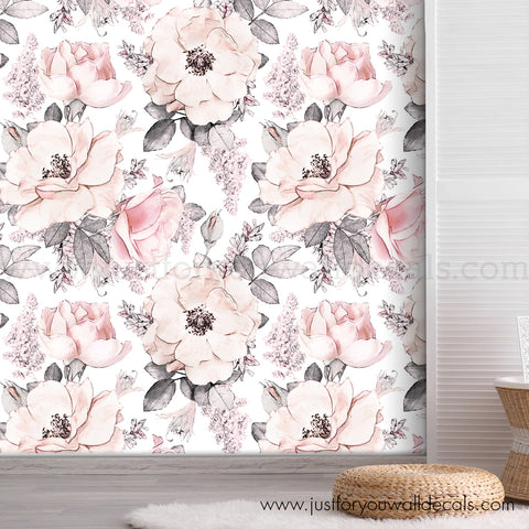 Vintage Rose Floral Removable Wallpaper - Large Nostalgia Blooms