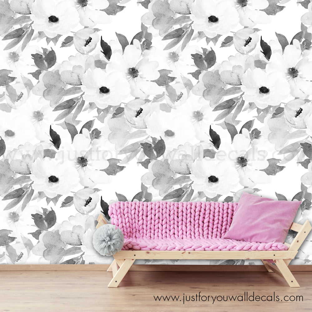 Black And White Flower Wallpaper Large Flower Floral Wallpaper Wall Decals Removable Wallpaper Wall Murals Just For You Decals