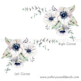 White Watercolour Spring Flower Wall Decal, Corner