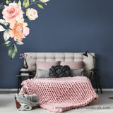 Watercolour Rose Flower Wall Decal, Corner