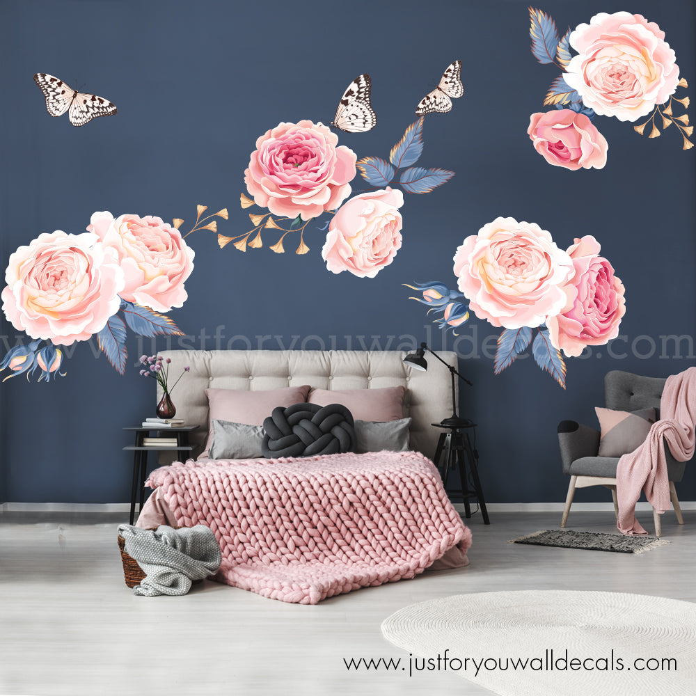 Pink Garden Roses Flower Wall Decals