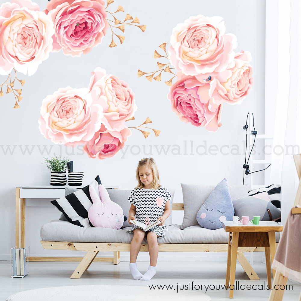 Floral Wall Decal - Pink and Gold Flower Wall Decals ...
