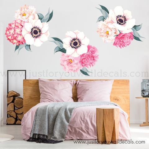 Flower Wall Decals - Hydrangeas, Peonies, Anemones