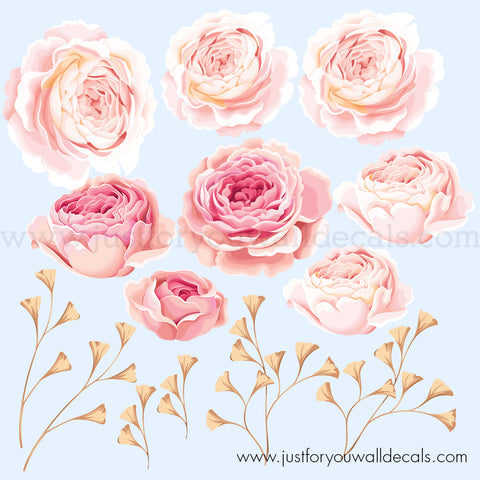 Pink and Gold Flower Wall Decals - Floral Wall Decal, Roses