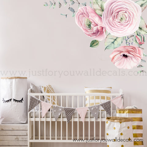 Pink Watercolour Spring Flowers, Corner Wall Decal