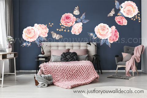 Floral Wall Decal - Pink Garden Roses