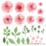 Floral Wall Decals - Pink Watercolor Garden Roses **Half Set**