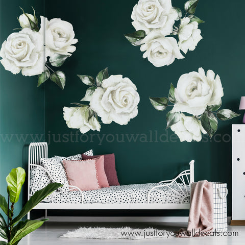 White Rose Floral Wall Decals **Half Set**