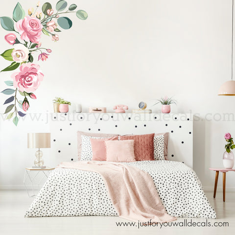 Graphic Watercolour Rose Flower Wall Decal, Corner