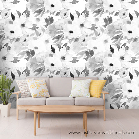 Black and White Flower Wallpaper, Large Flower - Floral Wallpaper