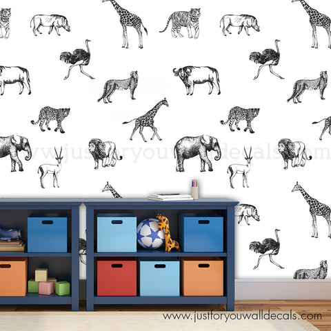 Animal Removable Wallpaper - Nursery Removable Wallpaper - Large Pattern