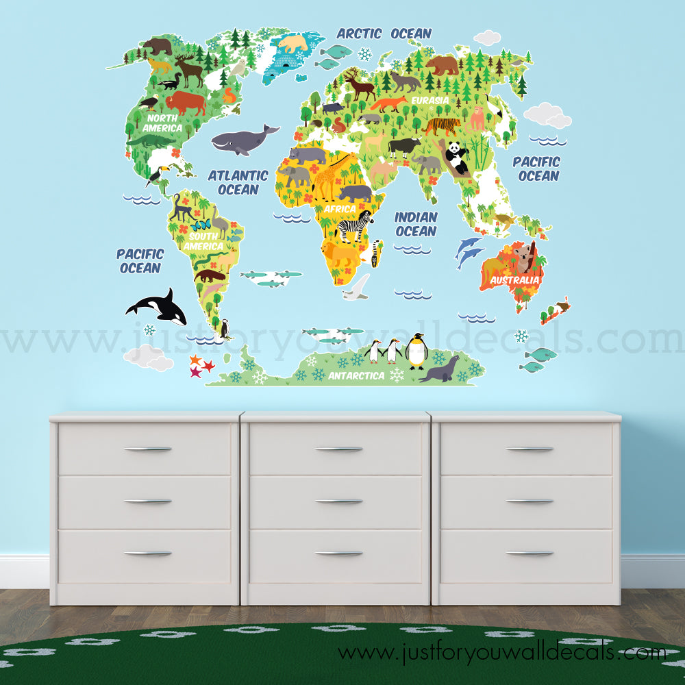 Map Wall Decal Kids Nursery Wall Decals Wall Decals Removable