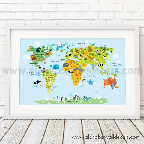 Map posters just for you decals wall decals posters prints world map poster world map for kids gumiabroncs Choice Image