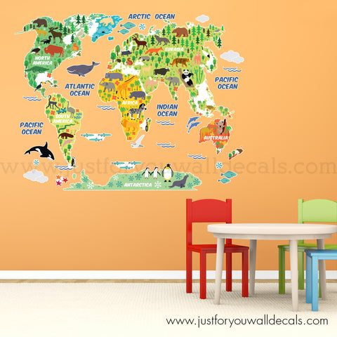 Map Wall Decal - World Map Wall with Animals