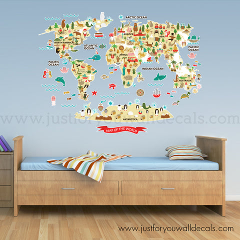 Map Wall Decal - World Map Wall Decal for Kids