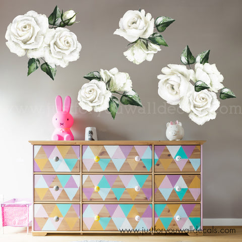 White Rose Floral Wall Decals **Mini Set**