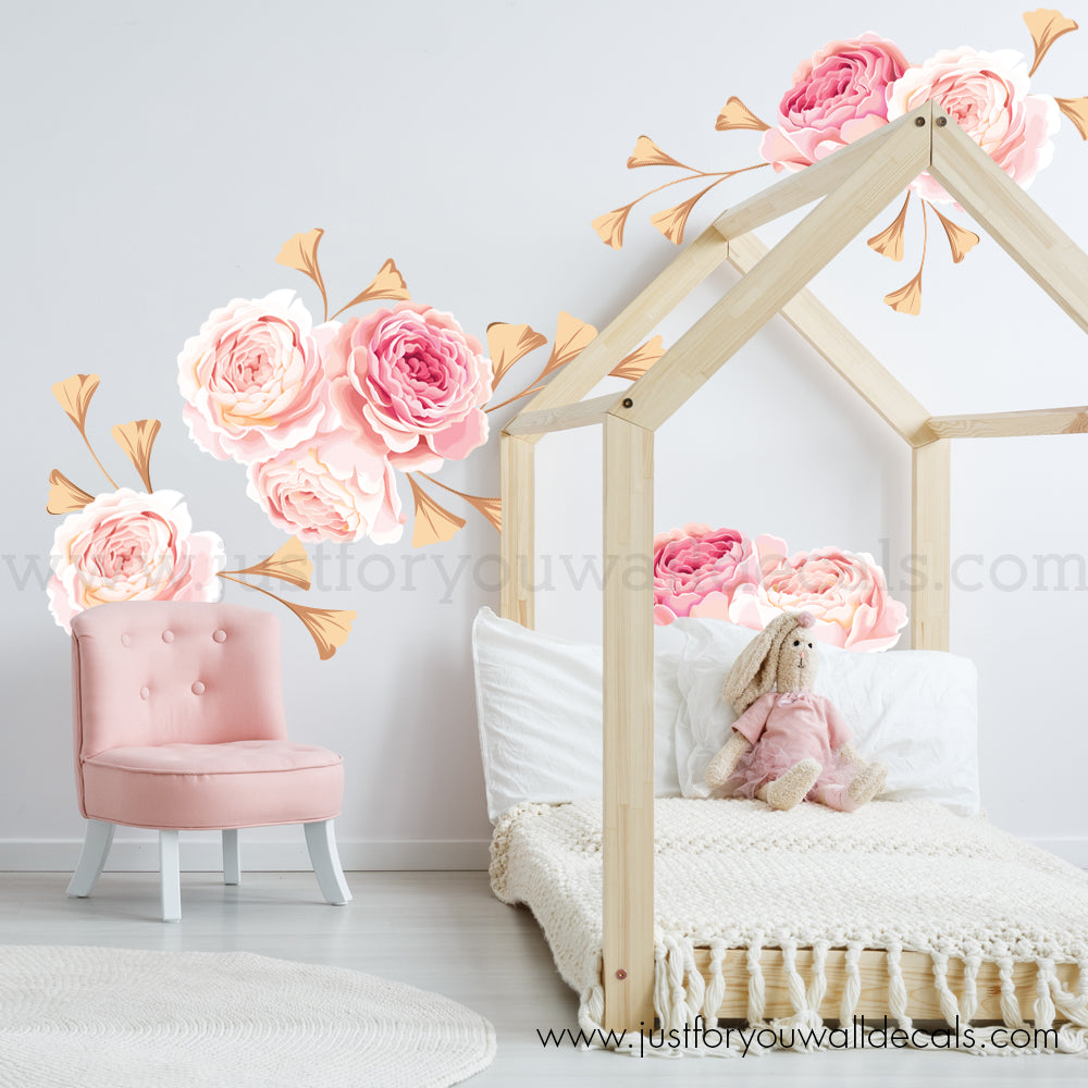 High Quality **Mini Flower Set** Pink And Gold Flower Wall Decals   Floral Wall