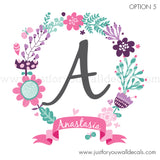 Flower Name Wall Decal, Monogram Wall Decal