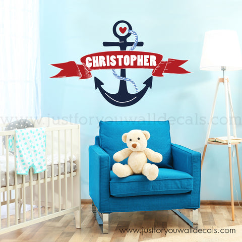 Nautical Monogram Wall Decal - Anchor