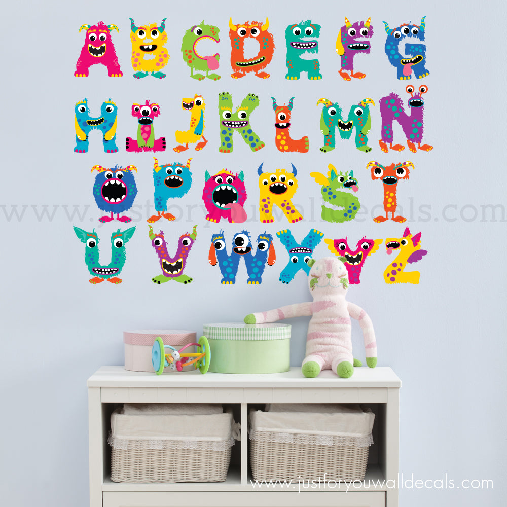 Alphabet Wall Decal - Monster Alphabet Wall Decal  sc 1 st  Just For You Decals & Monster Alphabet Wall Decals u2013 Just For You Decals - Wall Decals ...
