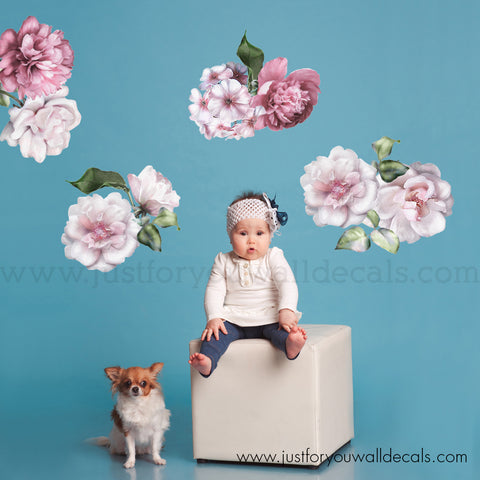 Floral Wall Decals, Spring Flower Wall Decals - Mini Set