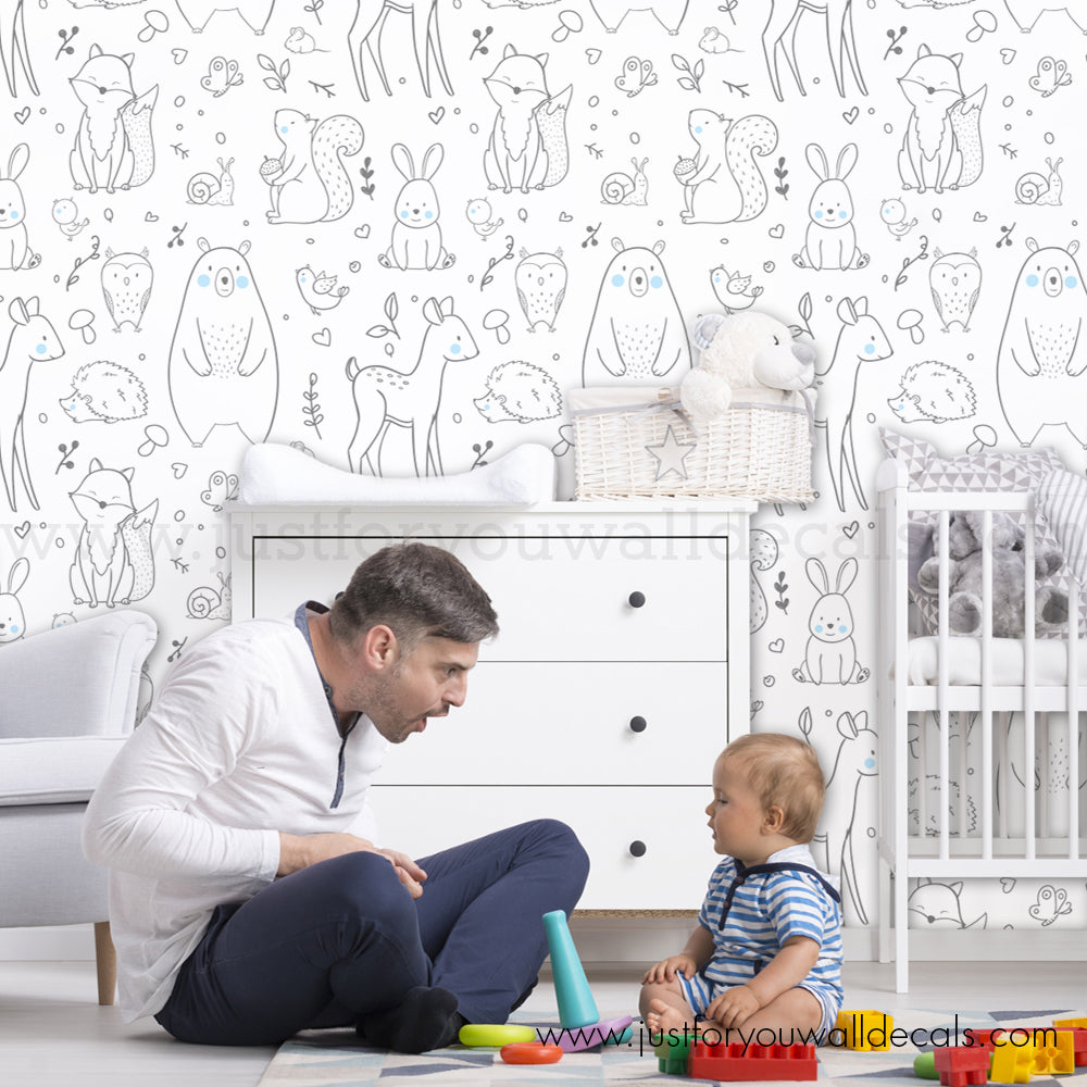 Forest Animal Removable Wallpaper Nursery Removable