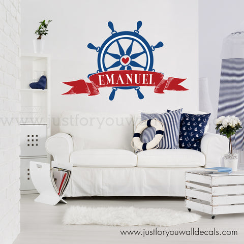 Nautical Monogram Wall Decal - Steering Wheel