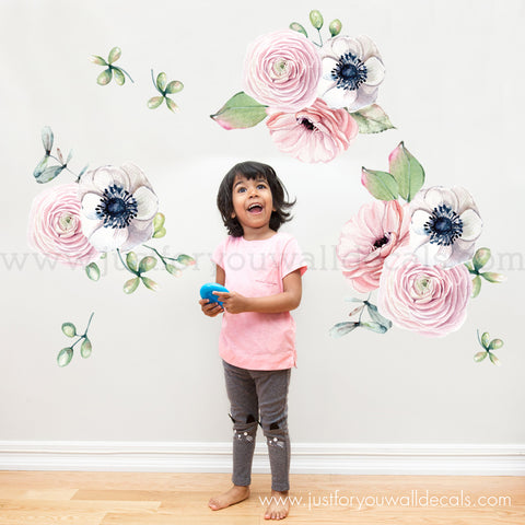 Spring Flower Wall Decals - Watercolor Floral Wall Decals **Mini Set**