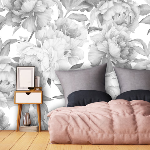 Peony Flower Wallpaper - Black and White