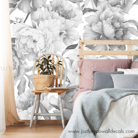 Peony Flower Mural Wallpaper - Black and White