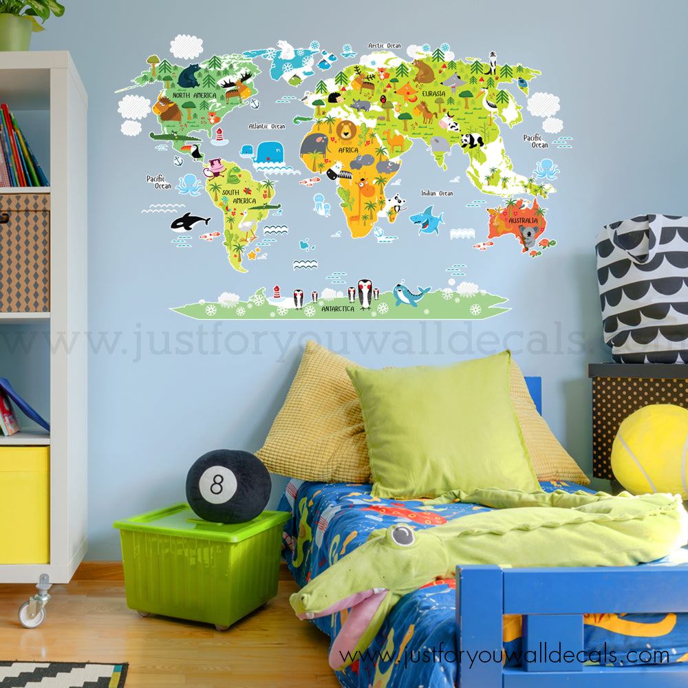 Map wall decal kids room just for you decals wall decals map wall decal world map wall decal for kids gumiabroncs Image collections