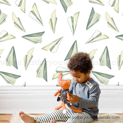Paper Airplane Peel and Stick Removable Wallpaper - GR